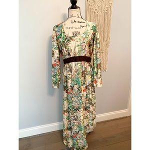 Vintage Leslie Fay Floral Boho Maxi Dress